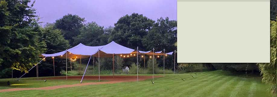 Large stretch tent set up for a wedding